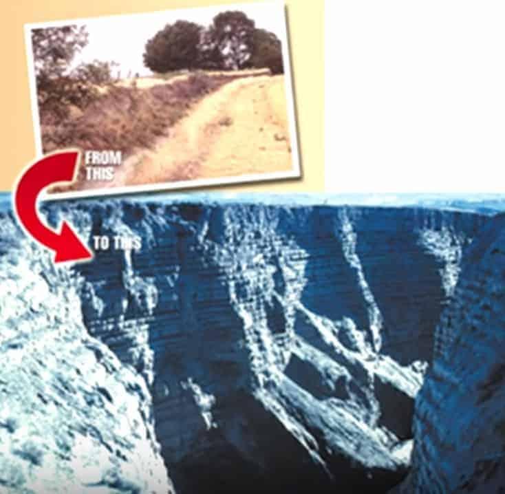 Le canyon de Burlingame aux Etats-Unis avant et après une inondation