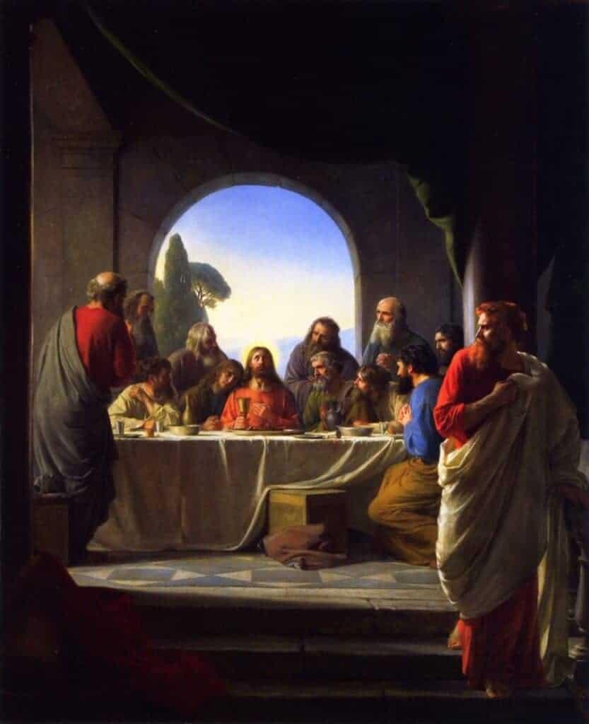 Judas se retirant à droite lors du dernier repas par Carl Bloch